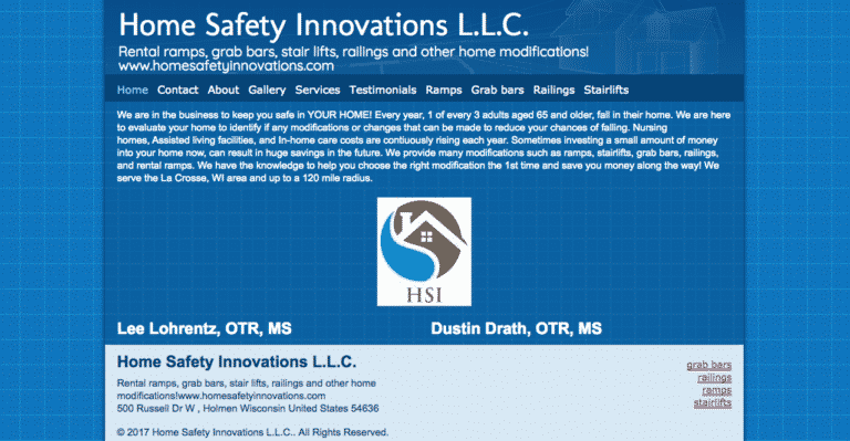 Home Safety Innovations old website homepage
